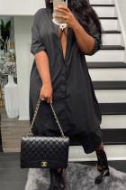 Black Street Solid Split Joint Buckle Mandarin Collar Loose Jumpsuits