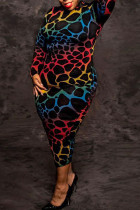 Colour Sexy Print Split Joint O Neck One Step Skirt Plus Size Dresses
