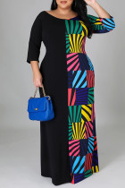 Black Fashion Casual Plus Size Print Split Joint O Neck Long Sleeve Dresses