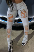 Grey Fashion Casual Solid Ripped Slit Skinny High Waist Pencil Trousers