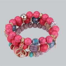 Red Bohemian Patchwork Bracelets