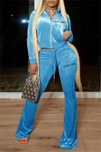 Sky Blue Fashion Casual Letter Embroidery Solid Color Zipper Collar Long Sleeve Two Pieces