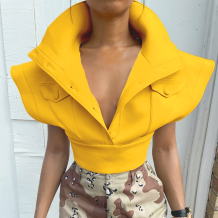 Yellow Sexy Solid Split Joint Turndown Collar Tops