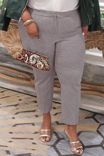 Black Fashion Casual Plaid Print Basic Plus Size Trousers