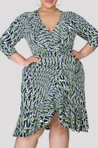Gray Blue Fashion Casual Print Asymmetrical V Neck Long Sleeve Plus Size Dresses