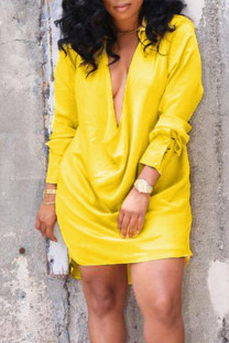 Yellow Sexy Solid Split Joint V Neck Straight Dresses