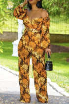Yellow Sexy Print Split Joint V Neck Boot Cut Jumpsuits