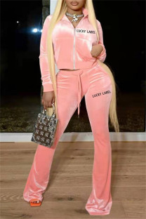 Pink Fashion Casual Letter Embroidery Solid Color Zipper Collar Long Sleeve Two Pieces