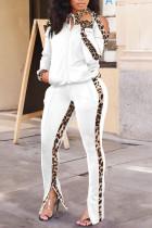 White Casual Print Leopard Split Joint Zipper Zipper Collar Long Sleeve Two Pieces