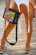 Coffee Sexy Street Patent Leather Solid Slit Skinny Bottoms
