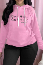 Pink Casual Print Split Joint Hooded Collar Plus Size Tops