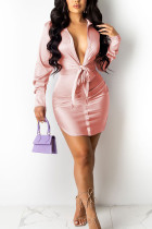 Pink Sexy Solid Bandage Split Joint Turndown Collar Shirt Dress Dresses
