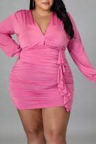Pink Sexy Solid Split Joint Flounce Fold V Neck Long Sleeve Plus Size Dresses