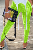 Fluorescent green Sexy Street Patent Leather Solid Slit Skinny Bottoms