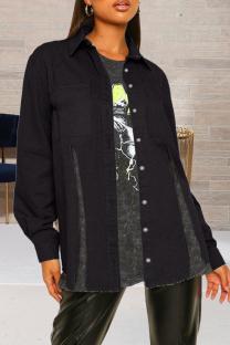 Black Casual Solid Slit Turndown Collar Long Sleeve Regular Denim Jacket