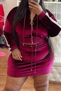 Burgundy Fashion Casual Striped Patchwork Zipper Hooded Collar Plus Size Two Pieces