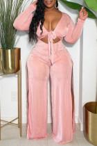 Pink Sexy Solid Bandage Hollowed Out Split Joint Slit V Neck Regular Jumpsuits