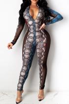 Snake Print Sexy Animal Print Split Joint Zipper Collar Skinny Jumpsuits