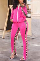 Pink Casual Print Leopard Split Joint Zipper Zipper Collar Long Sleeve Two Pieces