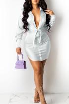 White Sexy Solid Bandage Split Joint Turndown Collar Shirt Dress Dresses