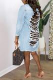 Deep Blue Fashion Casual Leopard Ripped Split Joint Turndown Collar Plus Size Overcoat
