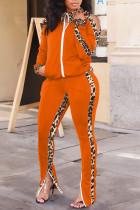 Orange Casual Print Leopard Split Joint Zipper Zipper Collar Long Sleeve Two Pieces