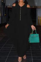 Black Casual Solid Flounce V Neck Cake Skirt Dresses