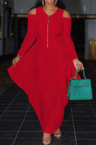 Red Casual Solid Flounce V Neck Cake Skirt Dresses