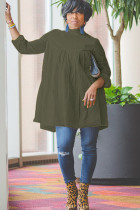 Army Green Sexy Cap Sleeve Long Sleeves O neck A-Line Knee-Length Solid Draped Patchwork Club Dresses