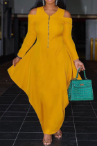Yellow Casual Solid Flounce V Neck Cake Skirt Dresses