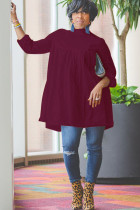 Wine Red Sexy Cap Sleeve Long Sleeves O neck A-Line Knee-Length Solid Draped Patchwork Club Dresses
