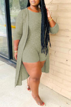 Ink Green Fashion Casual Solid Cardigan O Neck Plus Size Two Pieces