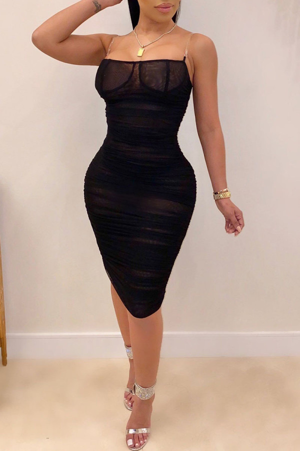Black Sexy Spaghetti Strap Sleeveless One word collar A-Line Knee-Length Patchwork Mesh perspect