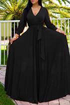 Black Fashion Casual Solid Bandage V Neck Long Sleeve Dresses