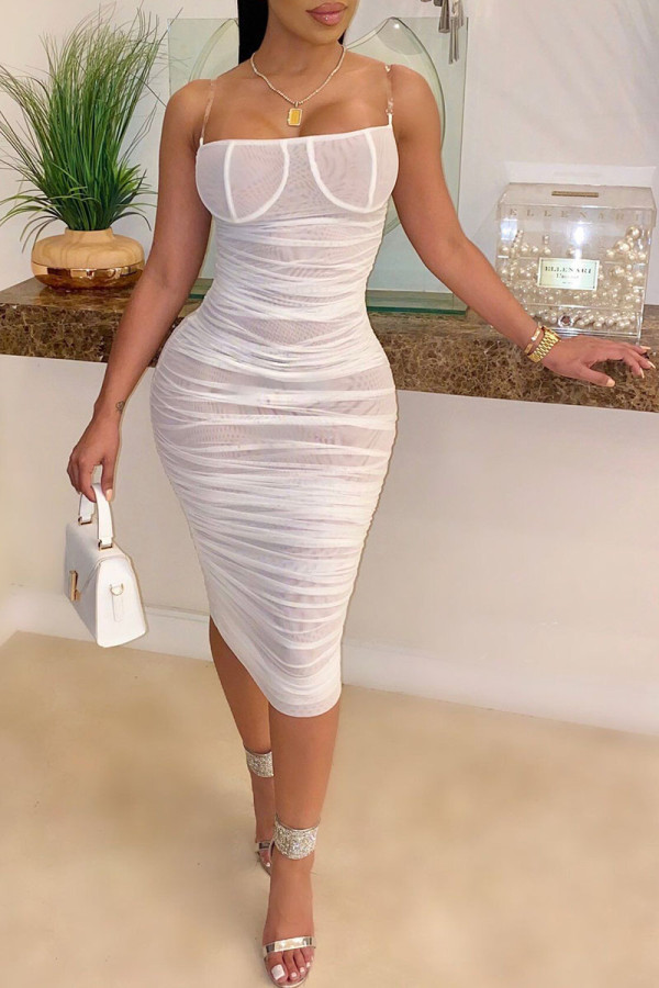 White Sexy Spaghetti Strap Sleeveless One word collar A-Line Knee-Length Patchwork Mesh perspect