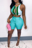 Green Fashion Casual Patchwork Hollowed Out O Neck Sleeveless Two Pieces
