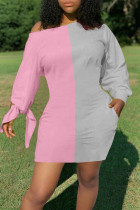 Pink Gray Casual Solid Split Joint Off the Shoulder Long Sleeve Dresses