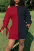Black Red Casual Solid Split Joint Off the Shoulder Long Sleeve Dresses