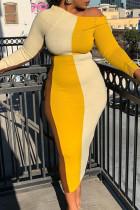 Yellow Fashion Casual Patchwork Basic O Neck Long Sleeve Dresses