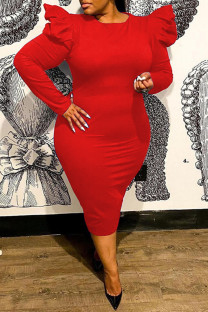 Red Fashion Casual Solid Basic O Neck Long Sleeve Plus Size Dresses