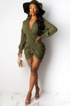 Army Green Casual Shirt sleeves Long Sleeves V Neck Asymmetrical Knee-Length Patchwork Solid