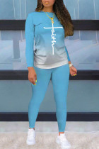 Light Blue Fashion Casual Print Split Joint O Neck Long Sleeve Two Pieces
