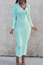 Light Blue Fashion Casual Basic Turndown Collar Long Sleeve Dresses