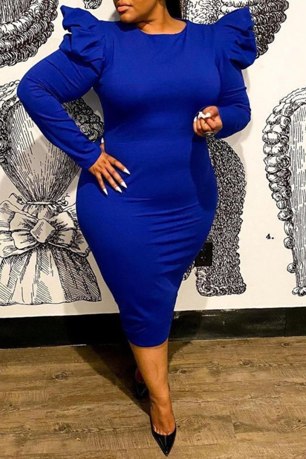 Deep Blue Fashion Casual Solid Basic O Neck Long Sleeve Plus Size Dresses