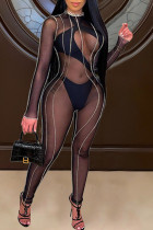Black Sexy Solid Split Joint See-through O Neck Skinny Jumpsuits(Two Underwear Included)