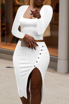 White Fashion Sexy Solid Split Joint Slit Square Collar Long Sleeve Two Pieces