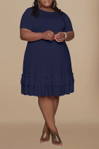 Deep Blue Casual Solid Flounce O Neck Cake Skirt Plus Size Dresses