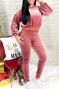 Pink Casual Solid Split Joint Frenulum With Bow O Neck Long Sleeve Two Pieces