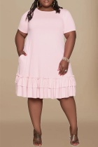 Pink Casual Solid Flounce O Neck Cake Skirt Plus Size Dresses