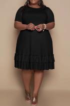 Black Casual Solid Flounce O Neck Cake Skirt Plus Size Dresses